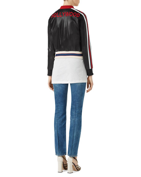 Embroidered Leather Bomber, Black