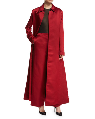 Neyton Long Silk Satin Coat and Matching Items