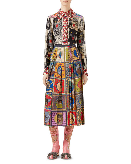 Silk Skirt with Tiger Cards Print