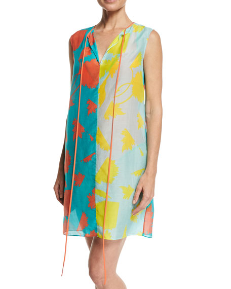 Sleeveless Tie-Neck Knit Dress, Blue Multi