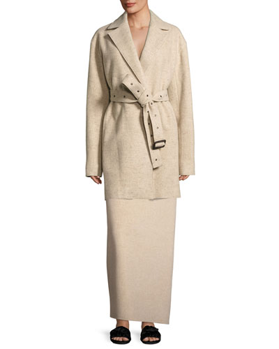 Monire Belted Wool-Blend Jacket and Matching Items