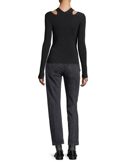 Stretch-Knit Slit V-Neck Sweater