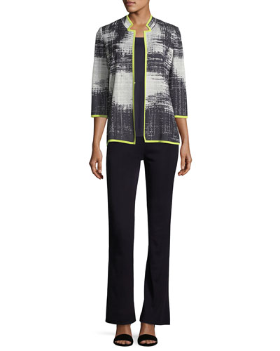 Notch-Collar Bold Border Jacket, Plus Size and Matching Items