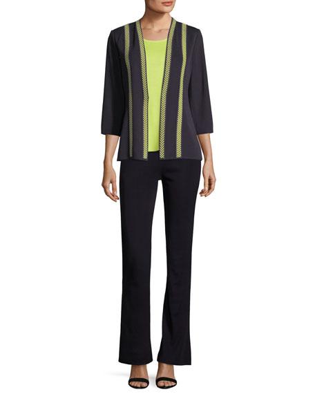 Herringbone Contrast-Trim Jacket