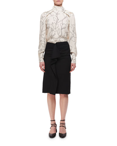 High-Rise Deconstructed Pencil Skirt w/ Ruffle and Matching Items