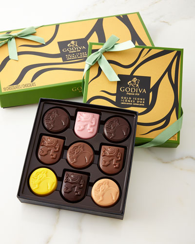 Limited Edition Gold Icons Chocolates, 9 piece and Matching Items