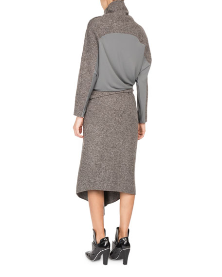 Galaxy Tweed Paneled Turtleneck Sweater