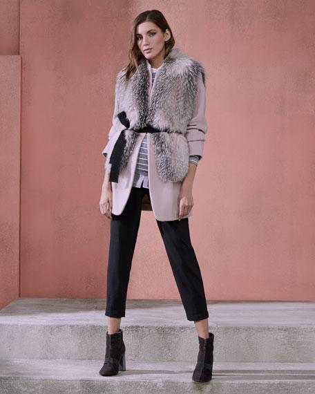Monili-Scroll Cropped Wool-Blend Trousers