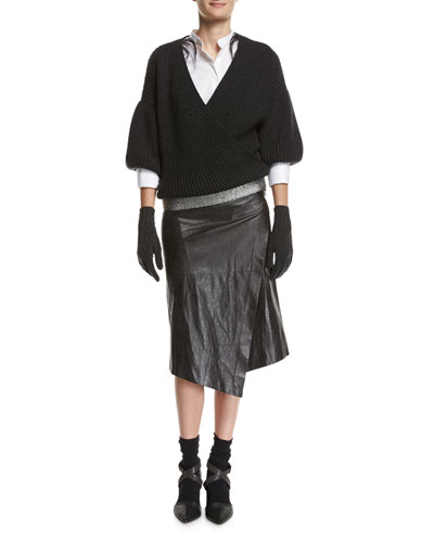 Cashmere Gloves with Monili Waterfall Fringe, Dark Gray and Matching Items