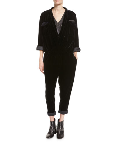 Velvet Monili-Trim Utility Jumpsuit and Matching Items