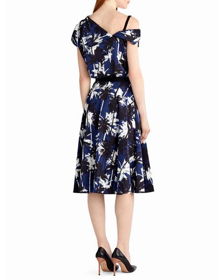 Pop Palm-Print Skirt, Blue Pattern