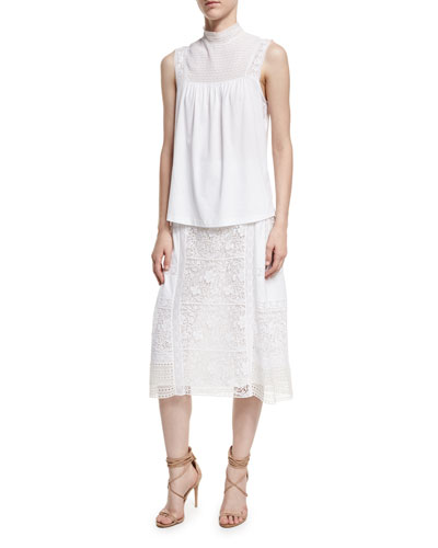 Piero Sleeveless Lace-Panel Top and Matching Items