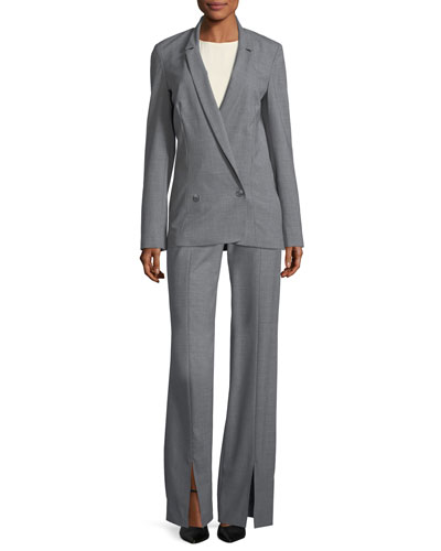Long Double-Breasted Wool-Blend Suiting Blazer and Matching Items