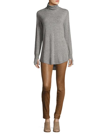 Long-Sleeve Cowl-Back Tunic Sweater