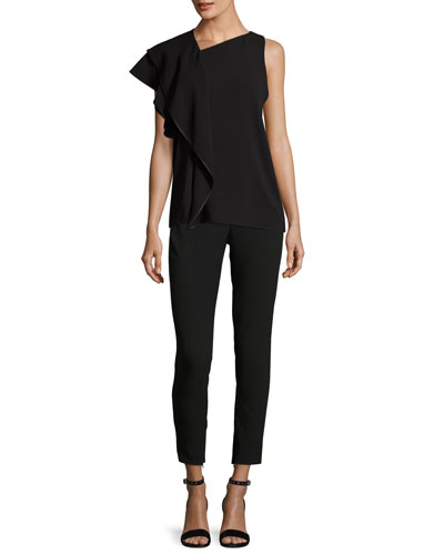 Slim-Fit Ankle Pants w/ Paneled Waist Detail and Matching Items