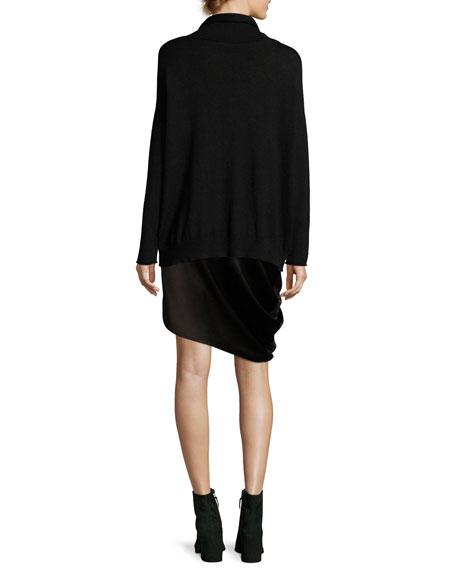 Asymmetric Draped Satin Skirt