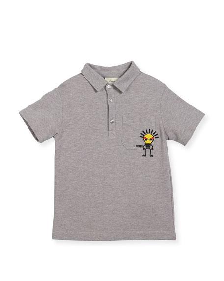 Boys' Short-Sleeve Polo with Light Bulb Detail, Size 10-14