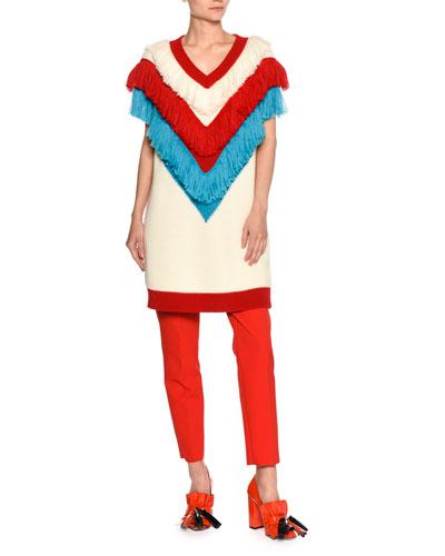V-Neck Sleeveless Fringe Sweater Dress, White Pattern and Matching Items