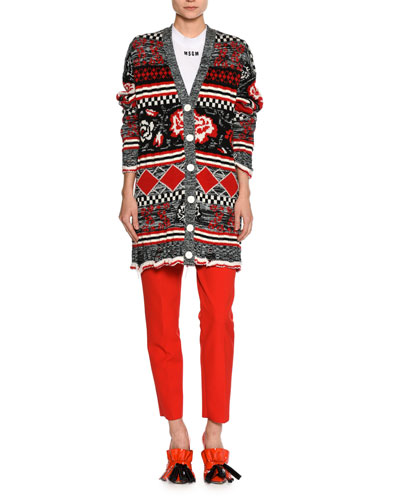 Slim High-Rise Tailored Trousers, Red and Matching Items
