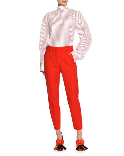 Striped Long-Sleeve Tieback Blouse, Red/White and Matching Items