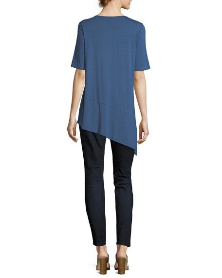Short-Sleeve Lightweight Viscose Jersey Asymmetric Hem Top