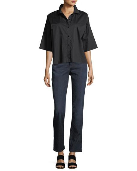 Boxy Button-Front Stretch-Cotton Lawn Shirt
