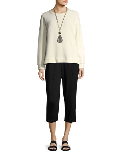 Organic Stretch Jersey Cropped Pants, Black and Matching Items, Plus Size
