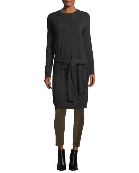 Long-Sleeve Tie-Waist Sweater Dress