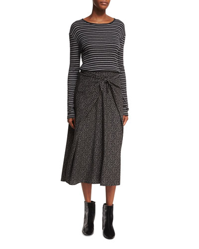 Celestial Polka-Dot Tie-Front Midi Skirt, Black Multi and Matching Items