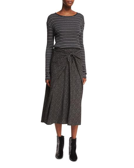 Double-Stripe Long-Sleeve Crewneck Tee
