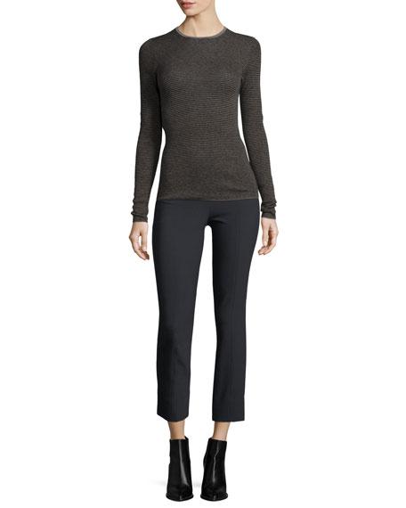 Striped Skinny Rib Cashmere Sweater, Gray Multi