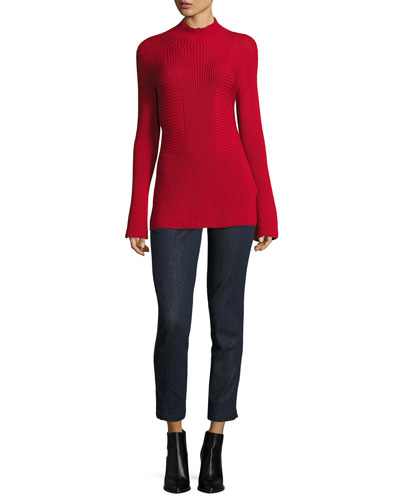 Mock-Neck Bell-Sleeve Virgin Wool Sweater and Matching Items