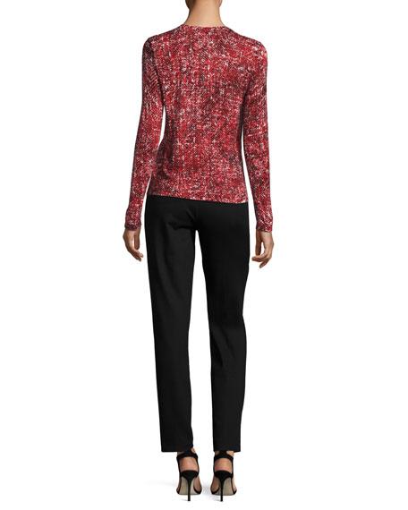 Tweed-Print Cashmere Cardigan