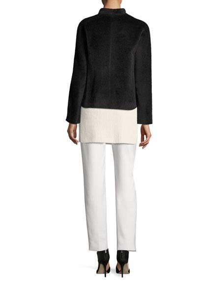 Alpaca-Wool Open-Front Jacket