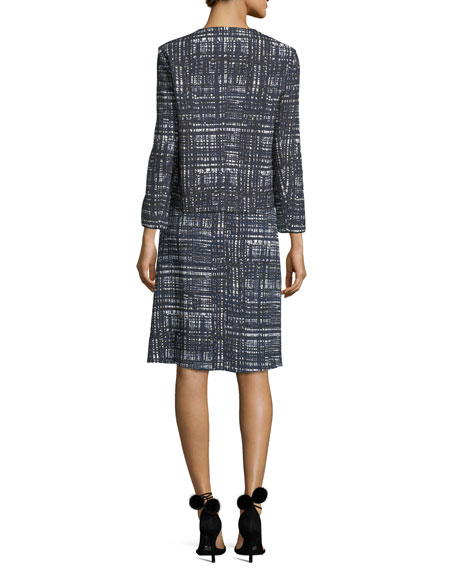 Weave-Print Collarless Jacket