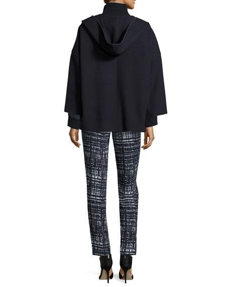 Virgin Wool Hooded Open-Front Coat