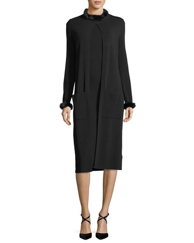 Mink-Collar Knit Sheath Dress and Matching Items
