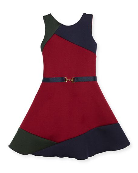 Gigi Colorblock Swing Dress w/ Belt, Size 4-6X