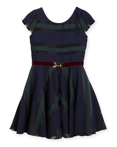 Ophelia Organza Shadow Stripe Dress w/ Belt, Size 2-6X and Matching Items