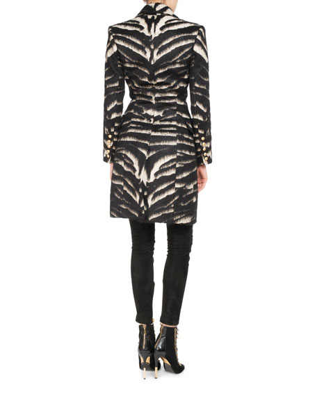 Double-Breasted Zebra-Print Coat