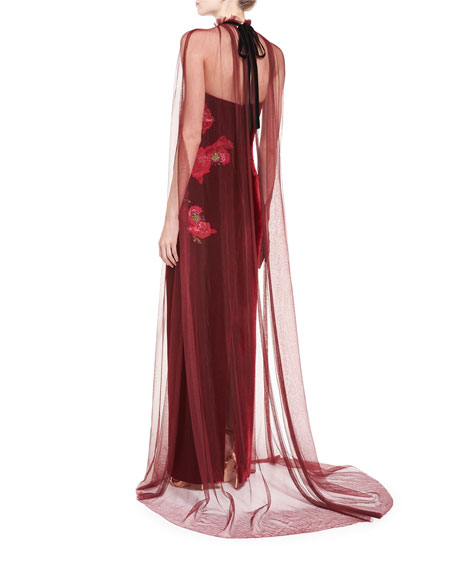 Floral-Embroidered Strapless Velvet Gown