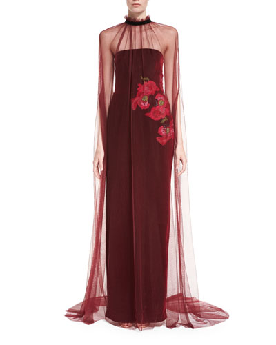 Floral-Embroidered Strapless Velvet Gown and Matching Items