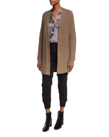 Waffle-Stitch Open-Front Cardigan Sweater