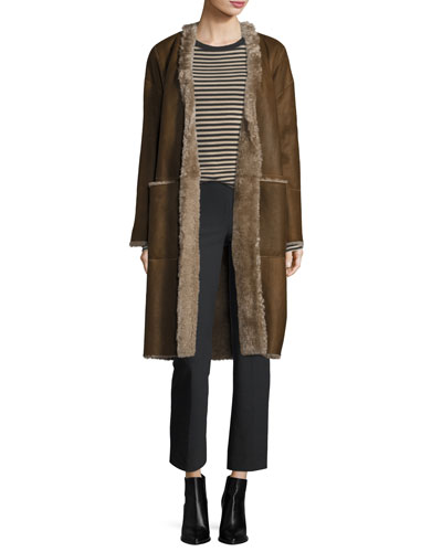 Reversible Elongated Reversible Shearling Coat and Matching Items
