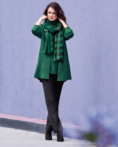 High-Collar Open-Front Boiled Wool Coat