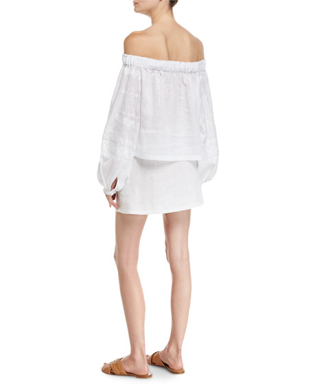 Strawberry Field Embroidered Linen Miniskirt