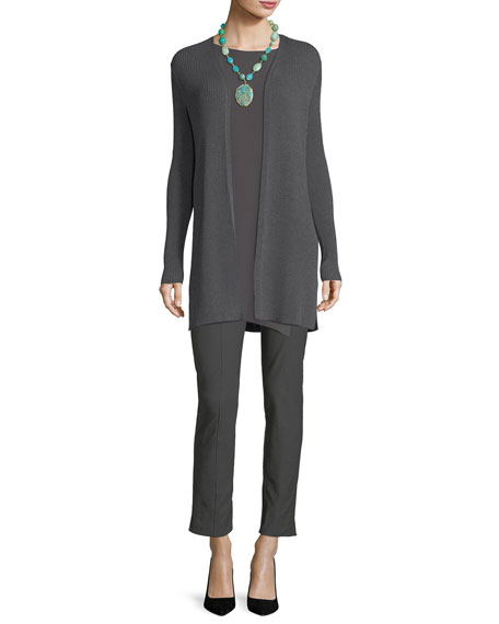 Long Straight Wool Crepe Cardigan, Plus Size