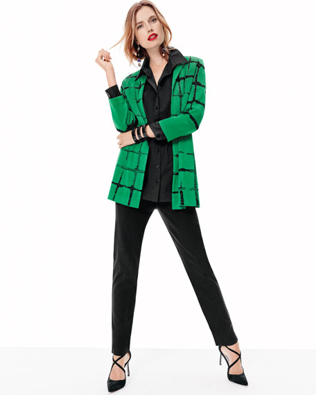 Faded Lines Long Jacket, Petite