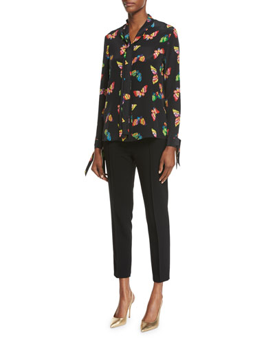 Long-Sleeve Tie-Neck Butterfly-Print Silk Blouse and Matching Items
