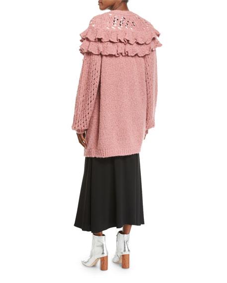 Oversized Ruffled Loose-Knit Cardigan